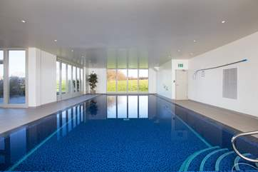The heated indoor swimming pool in the spa has views across the valley to Wells Cathedral.