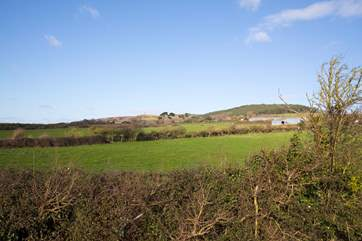 The view from the covered patio seating area is across Brighstone Downs.
