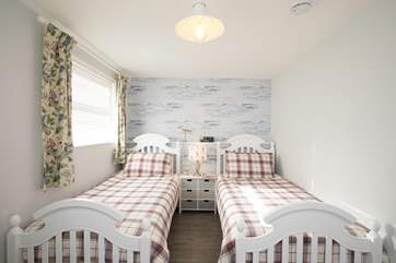 The beautifully decorated twin room.