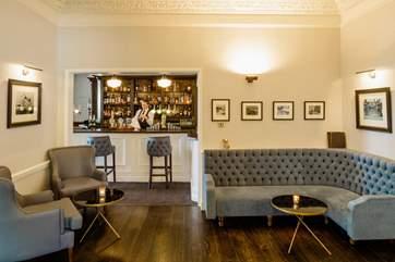 The hotel bar.