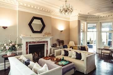 The beautiful hotel lounge.