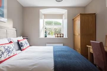 Solid oak furniture in both bedrooms.