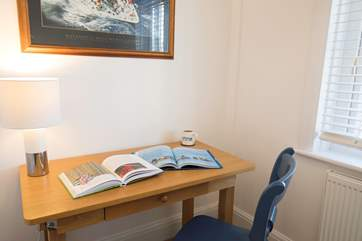 The study is a lovely quiet area to sit, read or to write postcards to friends and family back home.