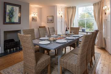 Serving a feast in this beautiful dining-room is a pleasure. The dining-table extends to allow seating for the whole house.