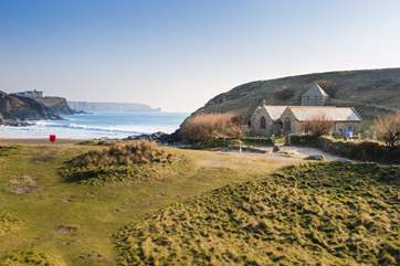 The little church at Church Cove made famous by the BBC series Poldark is a few minutes down the road with National Trust parking neaby.