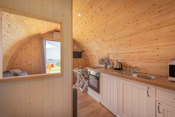 There is a fully fitted kitchen-area with every appliance you will need for your luxury glamping holiday - cooker, microwave, fridge, kettle and toaster.