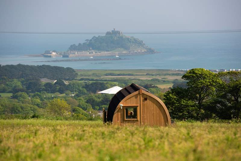 As the name suggests, looking straight out to St Michael's Mount.
