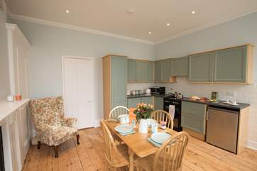 The beautiful kitchen to the rear of the apartment with original features as well as a modern twist.