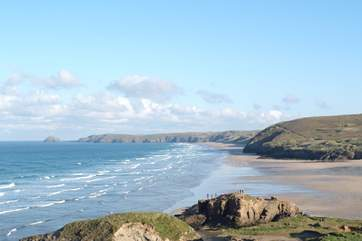 Perranporth has a massive sandy beach and is great for surfing, sandcastles and dog walking.