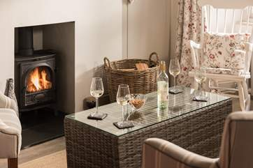 A cosy wood-burner for cooler times.