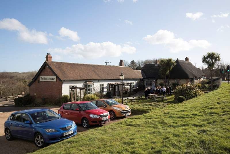 Take a short drive and go to the Hare and Hounds pub for superb food and local ales.