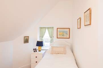 The single bedroom for a peaceful night's sleep.
