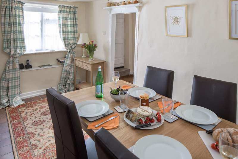 The dining-room is completely separate from the sitting-room, ideal for long lazy meals.