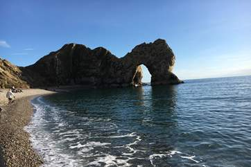 Impressive Durdle Door on the World Heritage Jurassic Coast, just 12 miles from Beehive Cottage.
