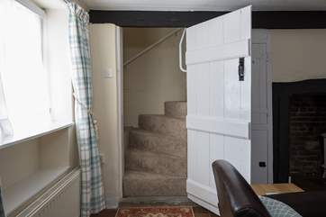 This charming cottage has steep winding stairs with grab rails. A stair-gate will not fit across the top, so can be placed at the door of the twin room, if required.