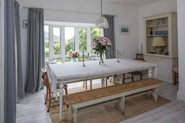 If the weather doesn't allow al fresco dining, why not banquet together in this lovely dining-room. The views are equally as stunning from inside.