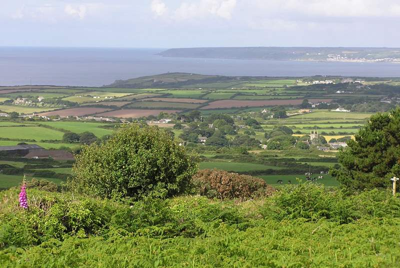 The view from Tregonning Hill, a short walk from the cottage.