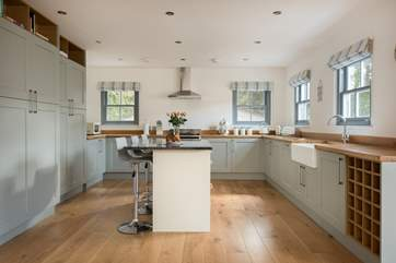 A well-equipped and sociable kitchen.