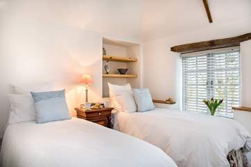 The delightful twin bedroom can also be made up as a king-size double bed.