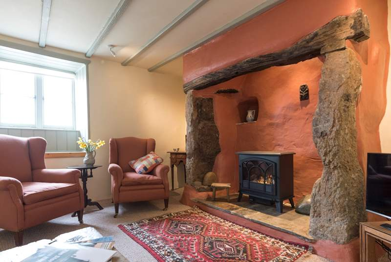 The cosy sitting-room, with a touch of Cornish charm.