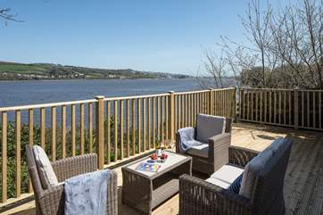 The annexe also boasts fabulous views. This fully enclosed decked area is perfect for both dogs and children.