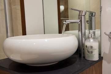 The modern fittings in the en suite shower-room.
