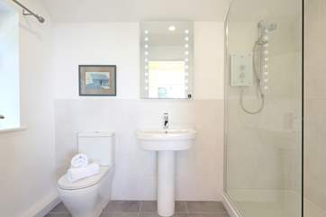 There is a large double shower.