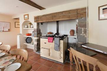 Of course a kitchen in a property like this would not be complete without an Aga. There is an electric oven and hob as well.