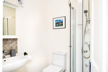 Bedroom 1's en suite shower-room.