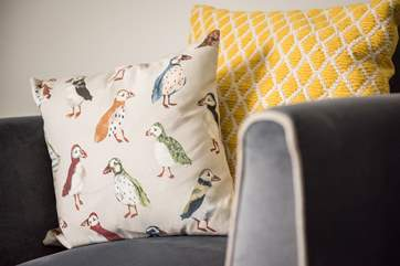 We love this puffin cushion, and think it fits in the sitting-room perfectly.