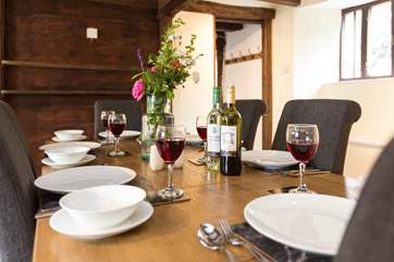 You can stroll to the local pub for supper but if you want to eat in, the dining-room is just perfect for a celebration or simply a happy holiday meal.