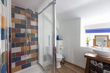The family shower-room offers an excellent large shower.