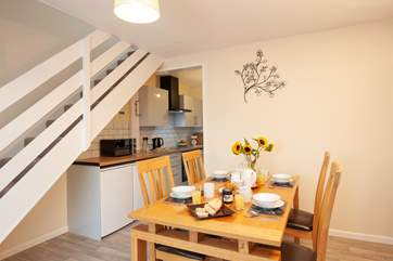 The cottage has open plan living and dining area