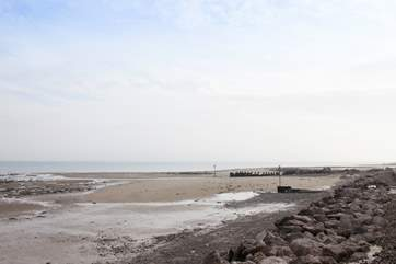At low tide, there's quite an expanse of sand to run around on