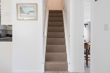 The steep stairs lead up to the bedrooms and family bathroom.