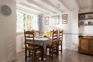 The dining table with plenty of space for six.