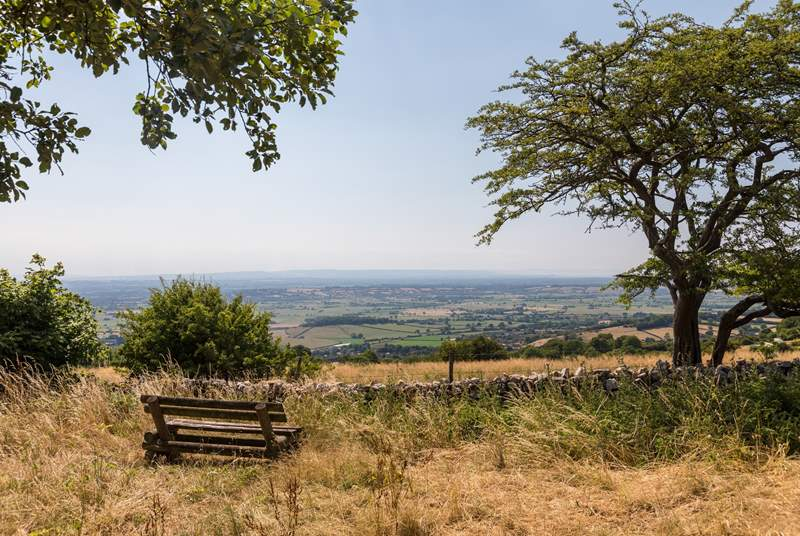 Looking far across Somerset from the top of the Mendip Hills.