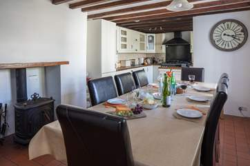 Perfect for family gatherings and celebrations, the large oak table seats 10.