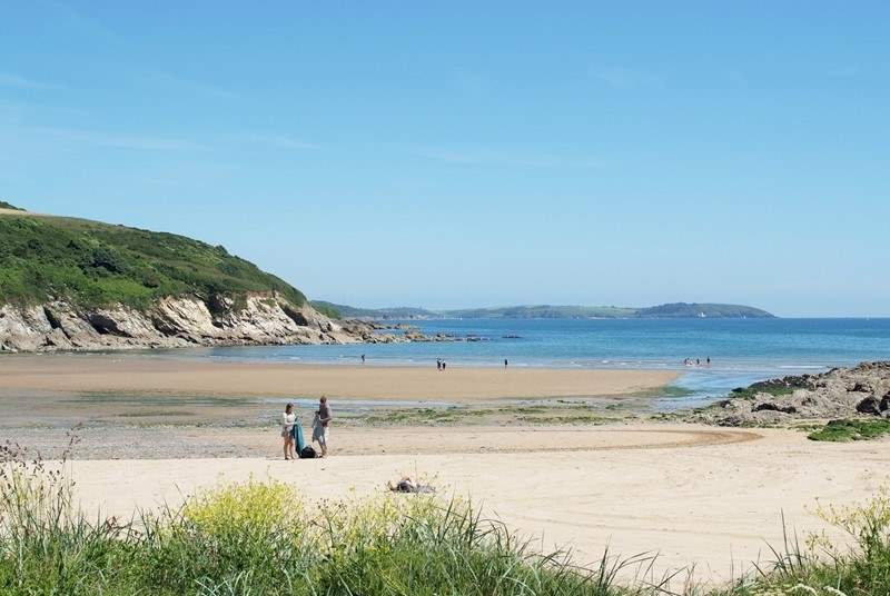 Build sandcastles on nearby Maenporth Beach.