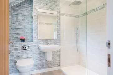 The en suite shower-room with under-floor heating.