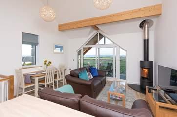 A modern open plan first floor living area.