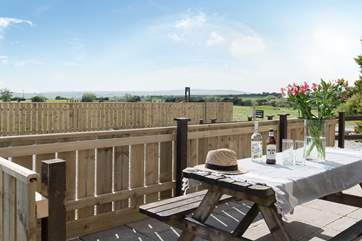 Enjoy a glass of wine on the front terrace overlooking much of Cornwall. (hot tub pictures to follow)