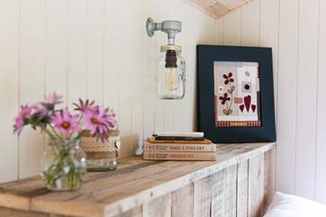 With lovely little touches throughout this spacious hut.