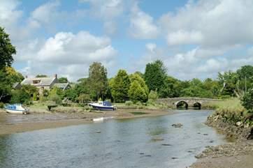 The ancient stone bridge in the village