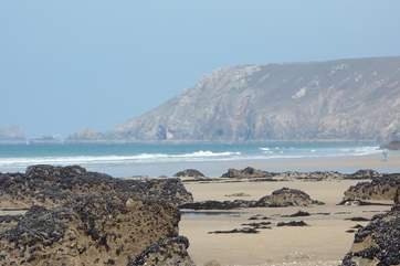 One of the many beaches along this part of the north Cornish coastline.