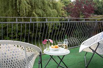 The balcony off the sitting-room is spacious and private