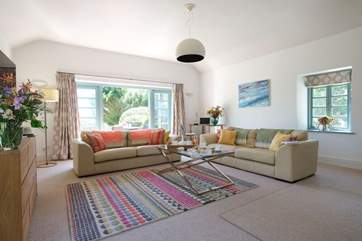 Cool pastel colours in the sitting-room.