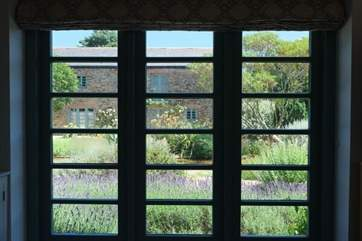 View through the window of the Mediterranean-style courtyard.