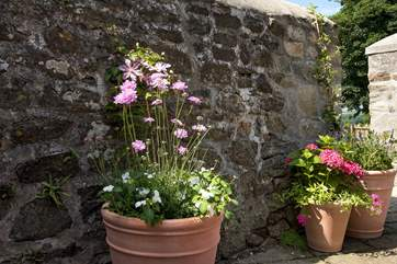 The pretty pots bring a splash of colour to the terrace.
