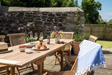 Enjoy the best of the Cornish sunshine with meals on the patio.